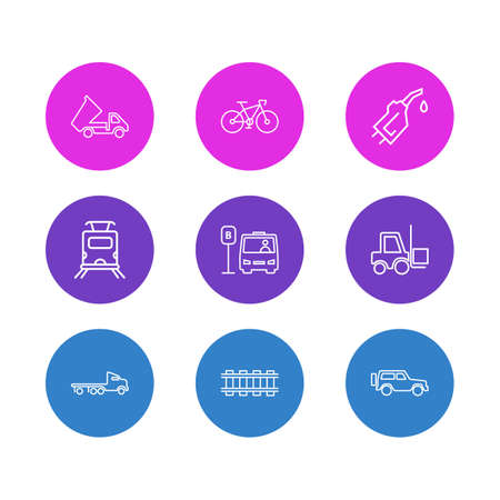 illustration of 9 carrying icons line style. Editable set of forklift, flatbed truck, railway and other icon elements.