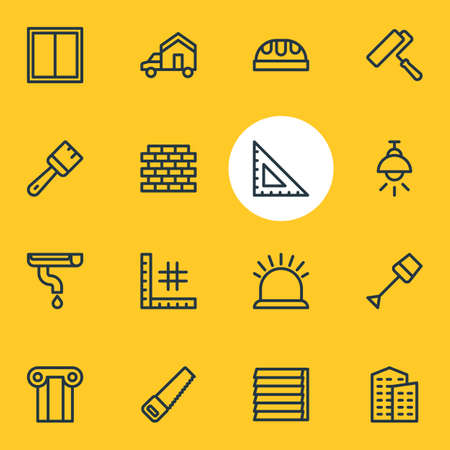 Vector illustration of 16 construction icons line style. Editable set of security, planning, building and other icon elements.