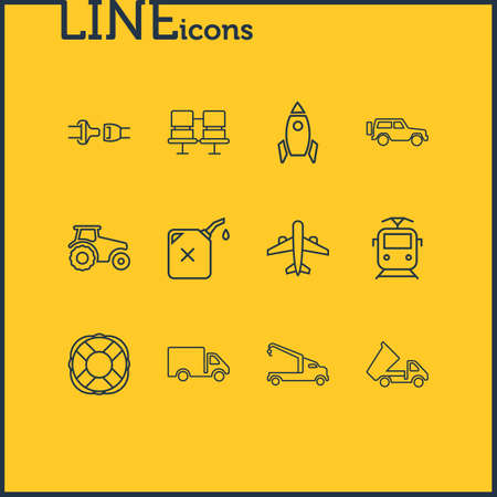 Vector illustration of 12 transport icons line style. Editable set of space vehicle, crane truck, passenger seats and other icon elements.