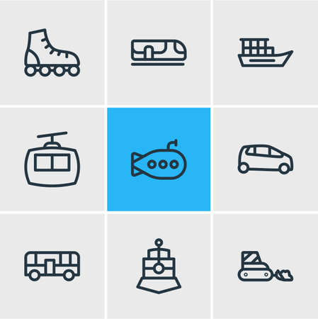 Vector illustration of 9 transport icons line style. Editable set of snow removal car, roller skates, train and other icon elements.