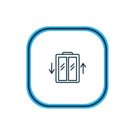 Illustrazione vettoriale della linea dell'icona dell'ascensore. Il bellissimo elemento dell'hotel può anche essere utilizzato come elemento dell'icona dell'ascensore.