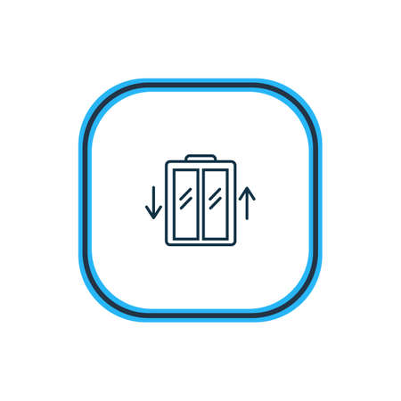 Vector illustration of elevator icon line. Beautiful hotel element also can be used as lift icon element.