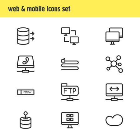 Vektorillustration von 12 Netzikonenlinienart Bearbeitbarer Satz von Dateiübertragungsprotokoll, Peer-to-Peer-Client, Kabel und anderen Symbolelementen.