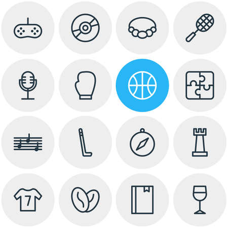 Vector illustration of 16 hobby icons line style. Editable set of puzzle, tennis, chess and other icon elements.