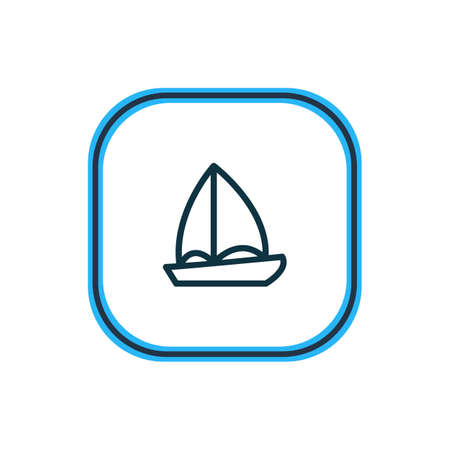 Vector illustration of boat icon line. Beautiful entertainment element also can be used as yacht icon element.
