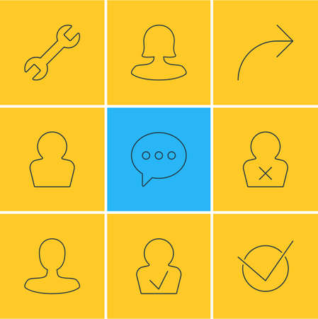 illustration of 9 UI icons line style. Editable set of publish, profile, woman member and other icon elements.