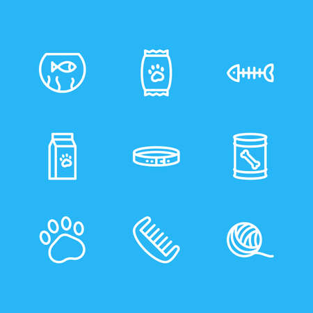 Vector illustration of 9 pet icons line style. Editable set of dog food in can, fishbowl, clew and other icon elements.