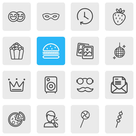 Vector illustration of 16 party icons line style. Editable set of singing man, happy people, disco ball and other icon elements.
