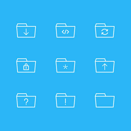 illustration of 9 document icons line style. Editable set of locked, refresh, folder and other icon elements. Stock Photo