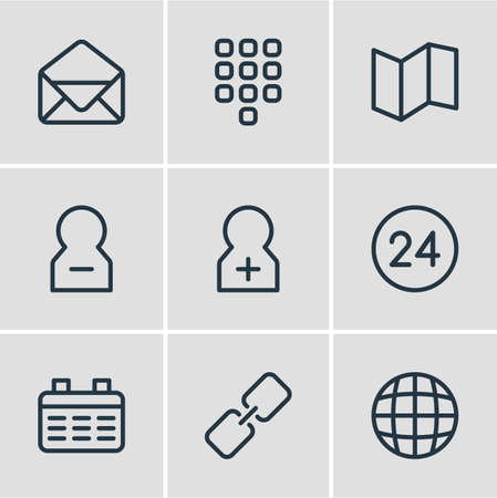 illustration of 9 connect icons line style. Editable set of globe, map, envelope and other icon elements.
