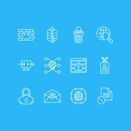 Vector illustration of 12 security icons line style. Editable set of cloud data protection, firewall, access denied and other icon elements.