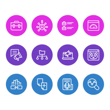 illustration of 12 advertisement icons line style. Editable set of link building, jobs open, traffic analyze and other icon elements.