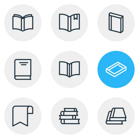 illustration of 9 education icons line style. Editable set of lecture, library, learning and other icon elements. Stock Photo