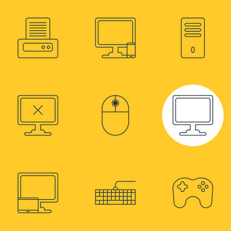 illustration of 9 computer icons line style. Editable set of game controller, printout, input buttons and other icon elements.