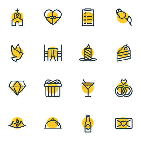 illustration of 16 events icons line style. Editable set of crown, mail, champagne and other icon elements.