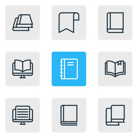 illustration of 9 book reading icons line style. Editable set of ribbon, tutorial, ebook and other icon elements.