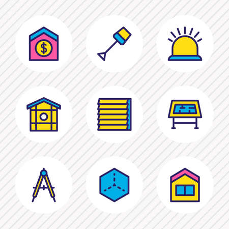 Vector illustration of 9 construction icons colored line. Editable set of drawing table, compass, spade and other icon elements.