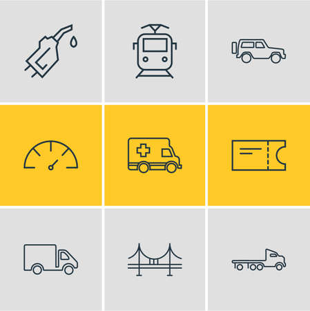 Vector illustration of 9 transportation icons line style. Editable set of train ticket, gasoline pipe, flatbed truck and other icon elements.