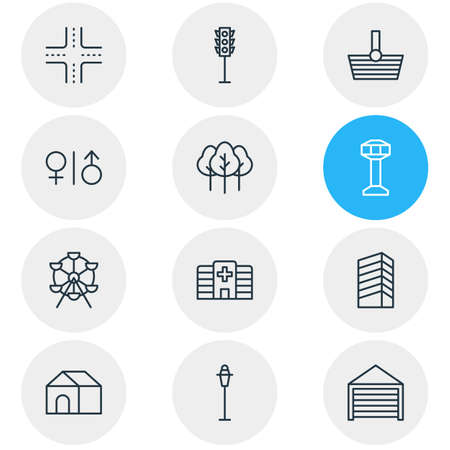 Vector illustration of 12 infrastructure icons line style. Editable set of airport, shopping, building and other icon elements.