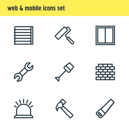 Vector illustration of 9 construction icons line style. Editable set of brick, security, spade and other icon elements.