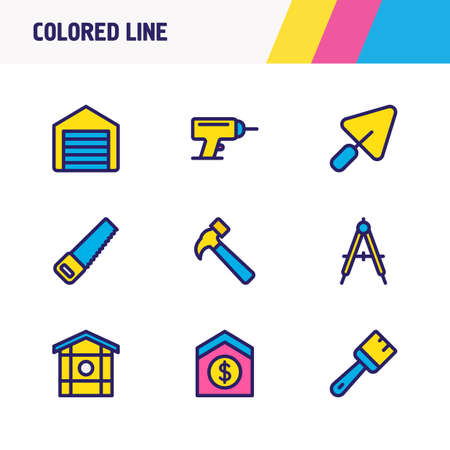 Vector illustration of 9 architecture icons colored line. Editable set of hammer, compass, garage and other icon elements.