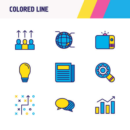 Vector illustration of 9 advertising icons colored line. Editable set of promotion, strategy, newspaper and other icon elements.