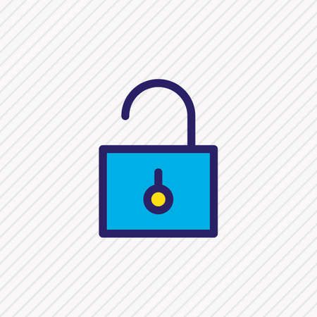 Vector illustration of unlock icon colored line. Beautiful app element also can be used as padlock icon element. 向量圖像