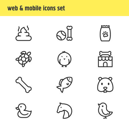 Vector illustration of 12 fauna icons line style. Editable set of chicken, turtle, pet poo and other icon elements.