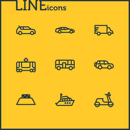 Vector illustration of 9 vehicle icons line style. Editable set of truck, autobus, yacht and other icon elements.