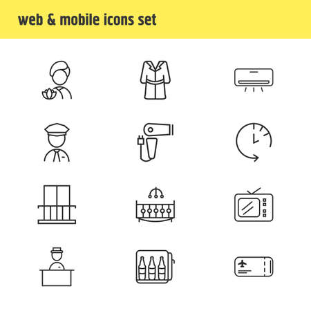 Vector illustration of 12 hotel icons line style. Editable set of check out time, hotel worker, flight ticket and other icon elements.