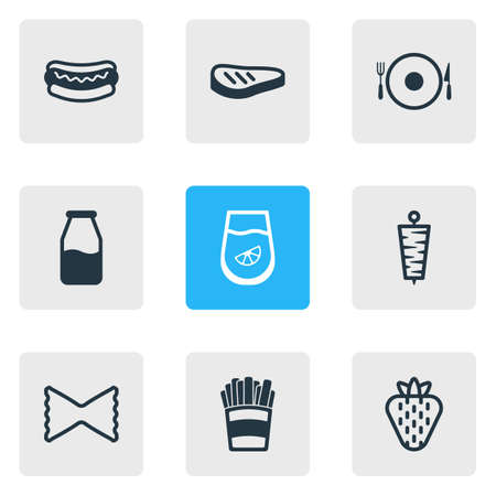 illustration of 9 eating icons line style. Editable set of grilled meat, french fries, dish and other icon elements. Banque d'images