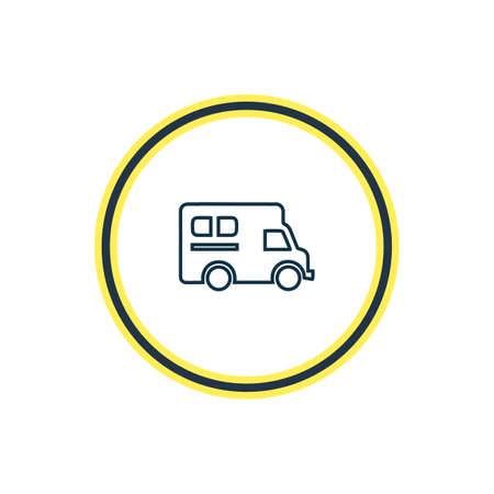 illustration of campervan icon line. Beautiful carrying element also can be used as caravan icon element. Archivio Fotografico