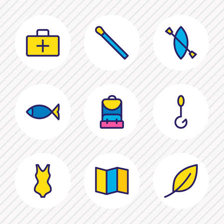 Vector illustration of 9 camping icons colored line. Editable set of fishing, bikini, map and other icon elements. Ilustração