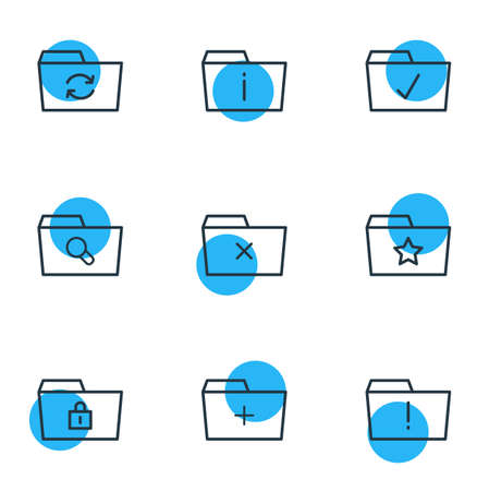 illustration of 9 document icons line style. Editable set of info, add, starred and other icon elements.