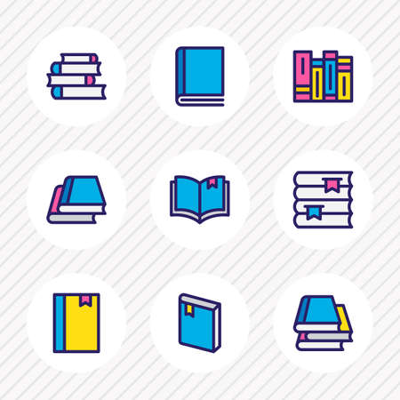 Vector illustration of 9 book icons colored line. Editable set of bookshelf, read, notepad and other icon elements.