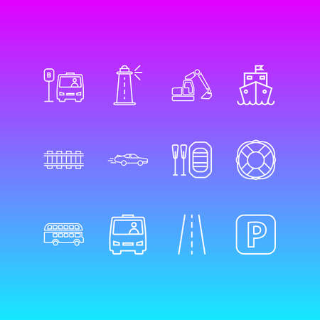 Vector illustration of 12 carrying icons line style. Editable set of parking sign, cruise ship, sport car and other icon elements.