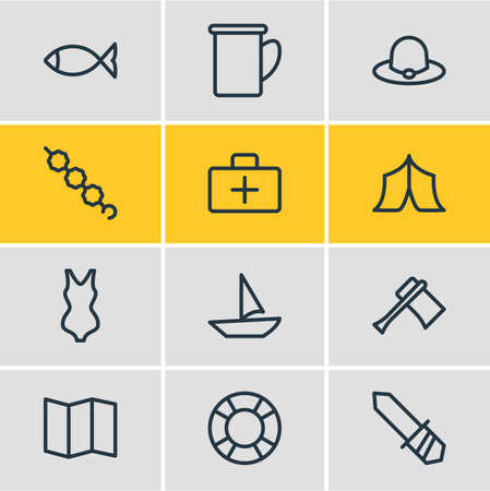 Vector illustration of 12 camping icons line style. Editable set of bikini, marshmallow, medicine and other icon elements. Иллюстрация
