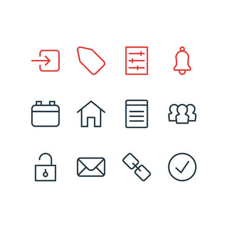 Vector illustration of 12 annex icons line style. Editable set of tag, list, setting and other icon elements. 向量圖像