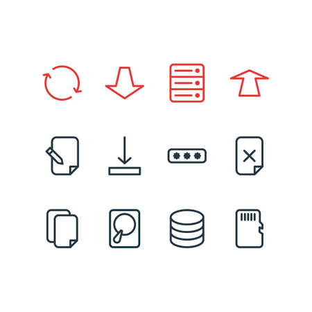 Vector illustration of 12 memory icons line style. Editable set of sd card, database, copy and other icon elements.