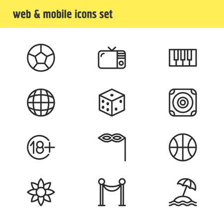 Vector illustration of 12 joy icons line style. Editable set of flower, beach, dice and other icon elements.