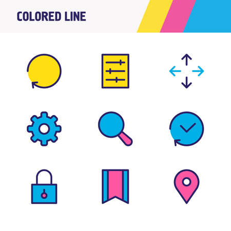 illustration of 9 annex icons colored line. Editable set of search, refresh, cog and other icon elements. Stock fotó