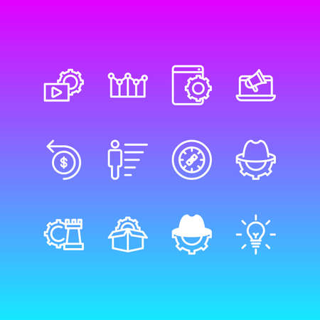 Vector illustration of 12 advertising icons line style. Editable set of fresh idea, career, service packages and other icon elements.