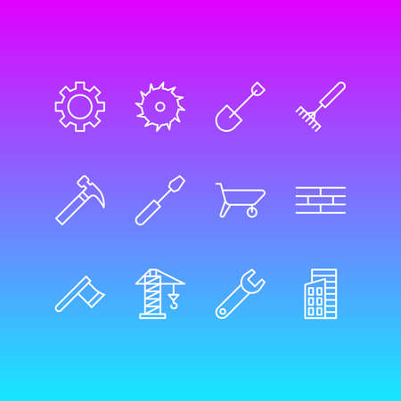 illustration of 12 industry icons line style. Editable set of brick wall, carrier, crane and other icon elements.