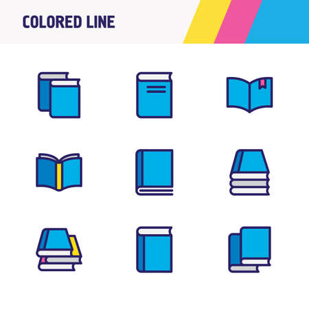 illustration of 9 book reading icons colored line. Editable set of knowledge, book collection, bookstore and other icon elements.