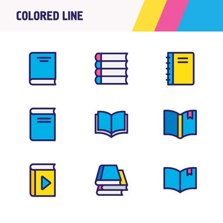 illustration of 9 book icons colored line. Editable set of bookmarking, book collection, encyclopedia and other icon elements. Stock Photo