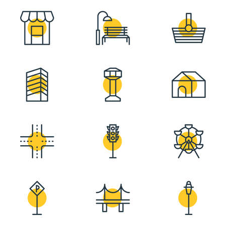illustration of 12 urban icons line style. Editable set of traffic light, parking, house and other icon elements.