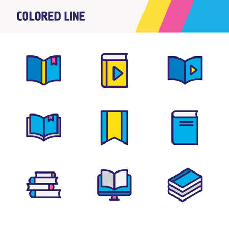 illustration of 9 book icons colored line. Editable set of bookmarking, audio book, novel and other icon elements. Stock Photo