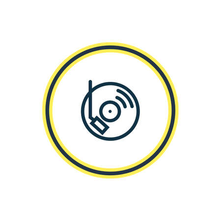 illustration of dj music icon line. Beautiful party element also can be used as turntable icon element.