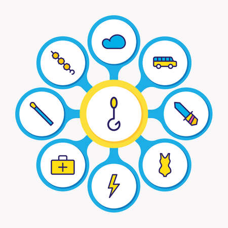 Vector illustration of 9 camping icons colored line. Editable set of cloud, bus, lightning and other icon elements.
