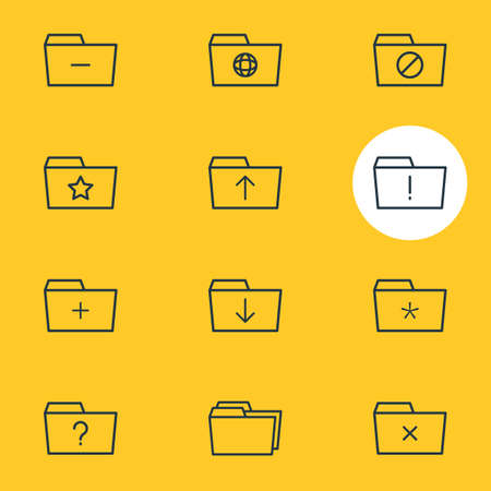 Vector illustration of 12 document icons line style. Editable set of significant, shared, dossier and other icon elements.